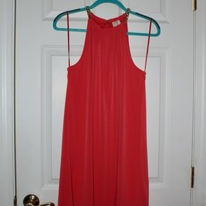 WORN ONCE  High-Low Shift Dress w/ Chain Neck